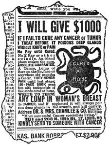 Cancer quackery advert, published 1912, Journal of American Medical Association. Wellcome Library, London.